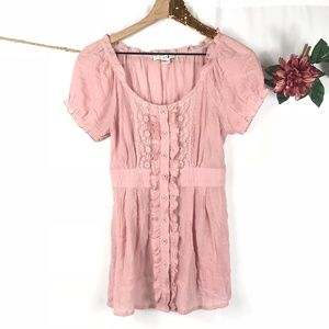 [XXI] Blush Pink Lace & Ruffle Peasant Top